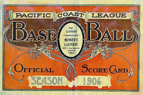 Pacific Coast League Scorecard 1906