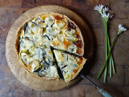 Wild Garlic, Leek, and Blue Cheese Quiche