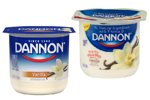 Dannon Lowfat and Whole Milk Vanilla Yogurt