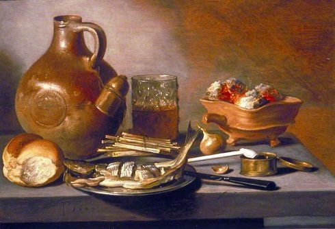 Still Life With Herring, Wine, And Bread