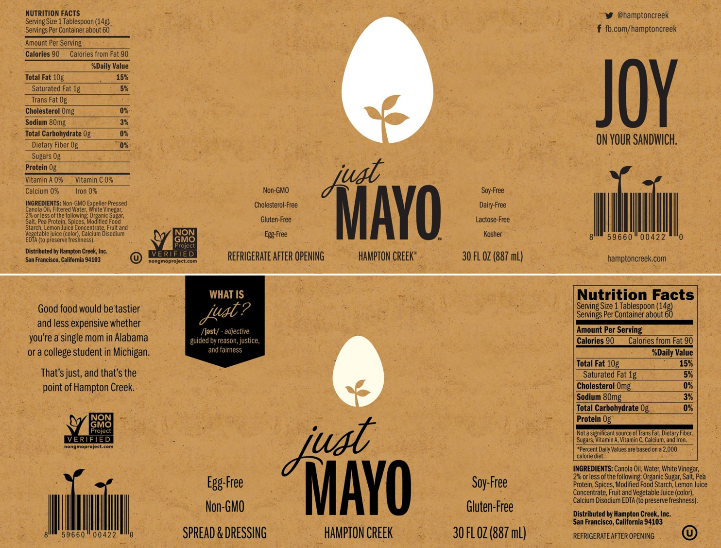 Just Mayo Labels Before and After