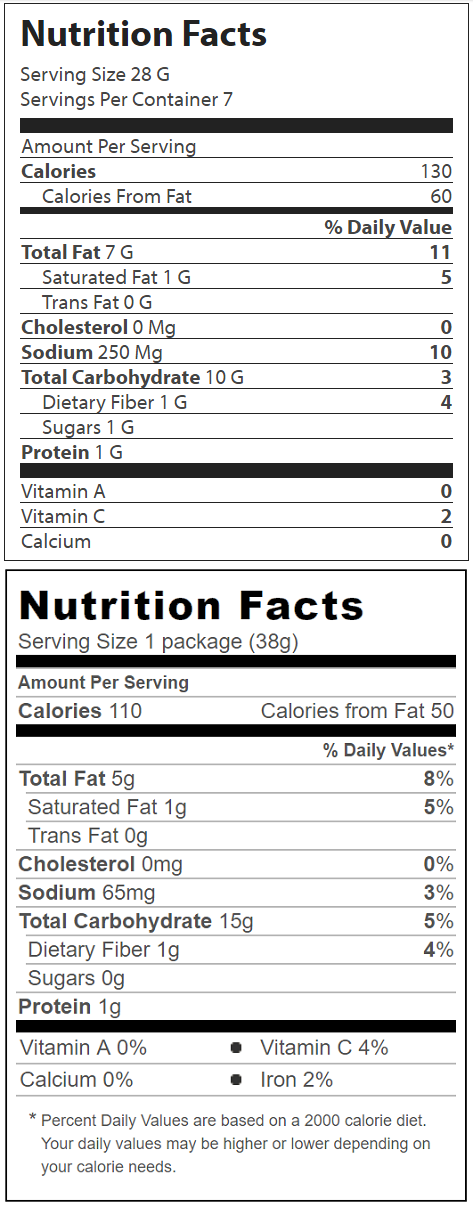 Nutrition Facts, Fries vs Veggie Chips
