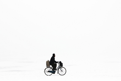 Old Man on a Bike in North Korea