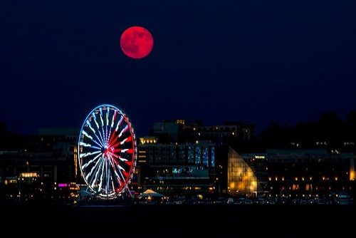 Supermoon Over National Harbor