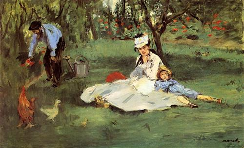 The Monet family in their garden at Argenteuil