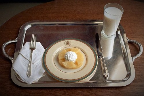 Nixon's Lunch Plate of Cottage Cheese and Pineapple
