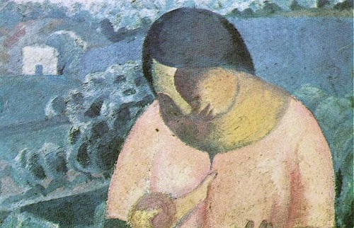 Woman Nursing Her Son
