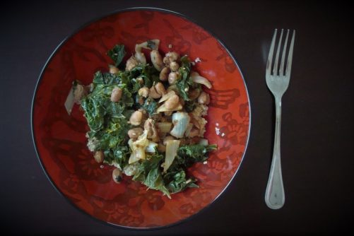 Garlic Beans and Kale with Quinoa