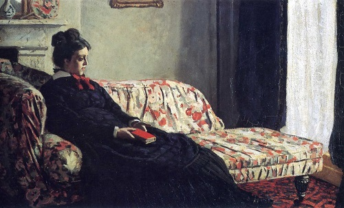 Madame Monet Sitting on a Sofa