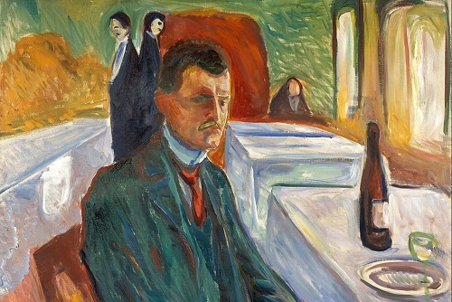 Self-Portrait with a Bottle of Wine