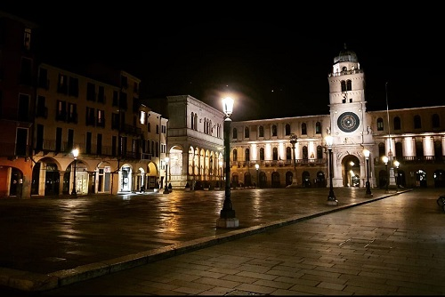 Piazza dei Signori in Padua, Italy, Deserted at Night