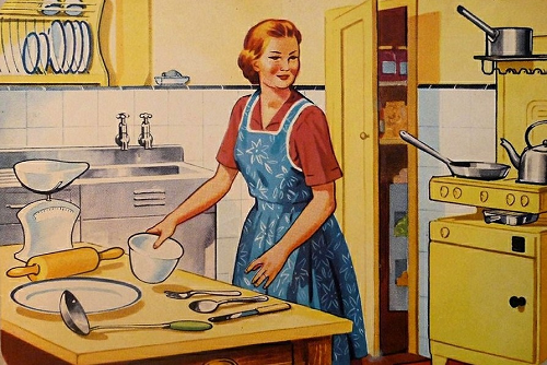 Blue Apron in a Retro Kitchen