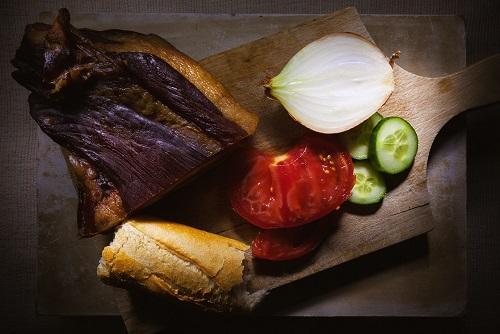 Prosciutto, Bread, and Vegetables