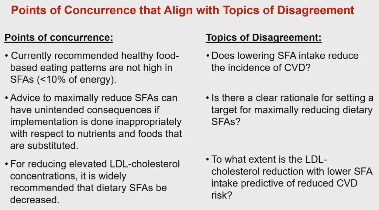 Points of Agreement and Disagreement in the Saturated Fats Debate