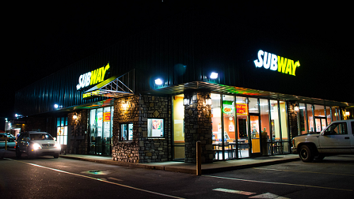 Subway Drive-Thru at Night