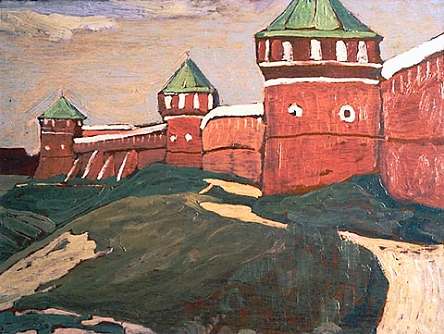 Walls of the Saviour-Euthymius Monastery, painting by Nicholas Roerich / WikiArt