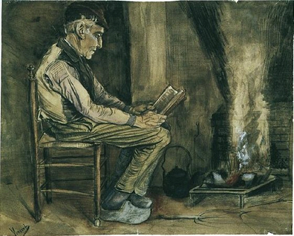 Farmer Sitting at the Fireside and Reading