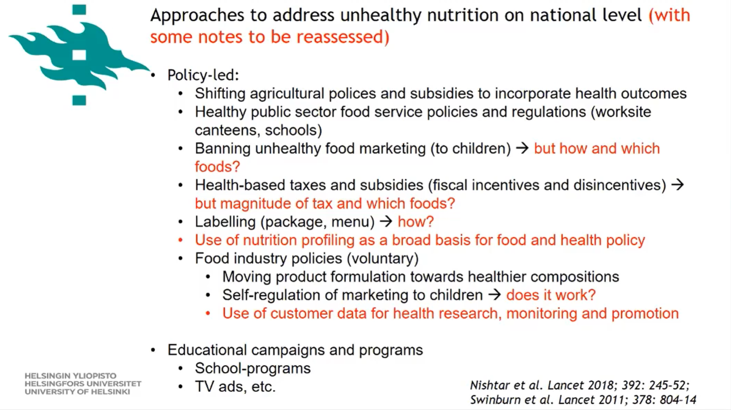 Reassessing Prevention Strategies for Unhealthy Nutrition