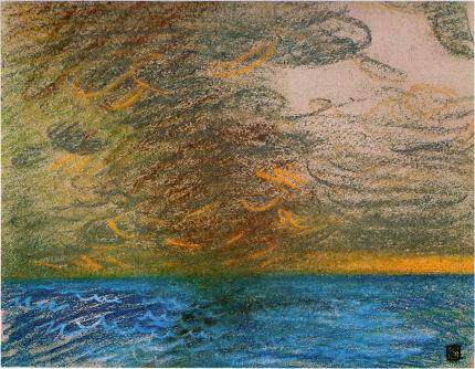 Smoke of a Ship and Sunset