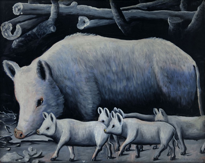 White Sow with Piglets